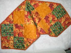 HALLOWEEN RUNNER GREEN ORANGE GOLD COLORS  385X13 by sewcalico65, $23.00