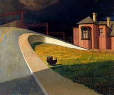 "redlipstickresurrected:"" Storm by Railway - Jeffrey SmartArtist: Jeffrey SmartPlace of Creation: AustraliaStyle: PrecisionismGenre: cityscape""Jeffrey Smart aka Frank Jeffrey Edson Smart (Australian, b. Urban Landscape, Landscape Art, Landscape Paintings, Australian Painters, Australian Artists, Jeffrey Smart, Critique D'art, Smart Art, Magic Realism"