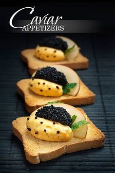 black caviar appetizers with apple and egg cream......... Bella Donna