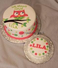1st birthday cake with an owl theme, along with a smash cake for the baby.