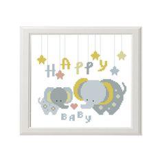 Cross stitch pattern  Elephant  Happy baby  by AnimalsCrossStitch