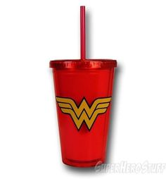 Wonder Woman Symbol Red Acrylic Cold Cup w/Lid