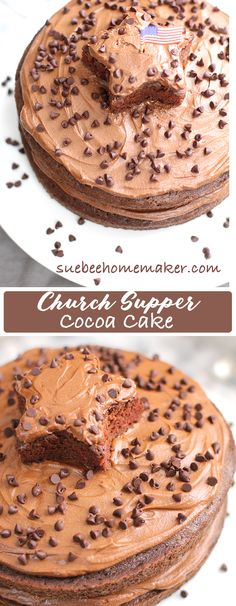 Church Supper Cocoa Cake is indeed a church recipe from back in the day, and my mother made it for special occasions! Topped w 5 minute chocolate frosting! | suebeehomemaker.com