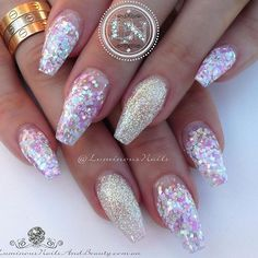 Candy Coated Nails with Glitter Feature Sculptured Acrylic with Candy Coated Glitter Mix, INM Nails Northern Lights Collection Pink. Fabulous Nails, Gorgeous Nails, Pretty Nails, Summer Holiday Nails, Winter Nails, Sparkle Nails, Fancy Nails, Hot Nails, Hair And Nails