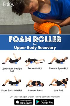 fitness - Arms & Upper body routine with Foam Roller Gym Workouts, At Home Workouts, Roller Workout, Foam Roller Exercises, Keep Fit, Massage Therapy, Weight Training, Upper Body, Excercise