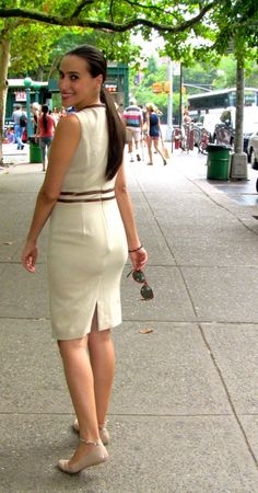 what to wear after labor day. cream/tan dress with leather panels and nude #flats t.j. maxx maxxinista