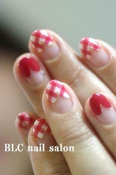 ギンガムチェックのハートフレンチnail 新潟市中央区万代ネイルサロン~BLC nail salon