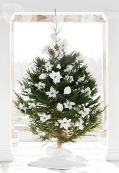 Blooming Beauty—Small but mighty: This tiny tree, trimmed with oversized white and cream faux flowers, is a total showstopper. Its pared-back palette and petite frame make it the perfect fit for any space.