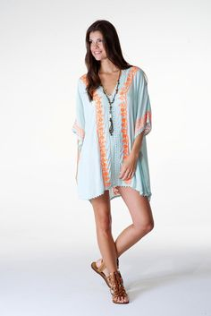 41ff22e03a50 Sale - Pastel Mint Tunic Kaftan with Constrating Orange Floral Embroidery &  Crochet Details. Festival Party. Beach Swim Cover Up. Boho Chic