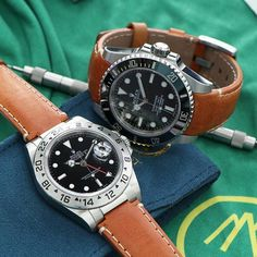 Which is your favorite combo? Explorer II with Steel End Link Leather or Submariner with Curved End Leather- tough choice!! Find both strap options online at www.everestbands.com