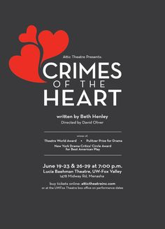 Crimes of the Heart poster - designed for Attic Theatre by Jane Oliver