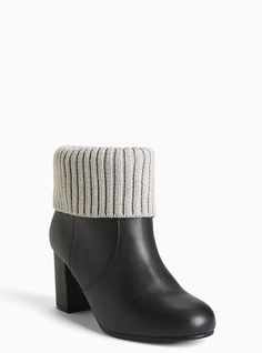 Genuine Leather Knit Top Booties (Wide Width), BLACK