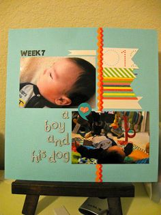 A Boy and His Dog: Martha Stewart Scrapbooking paper and embellishments.