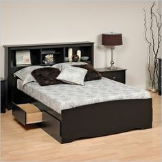 Prepac Black Sonoma Double / Full Platform Storage Bed with 6 Drawers - BBD-5600
