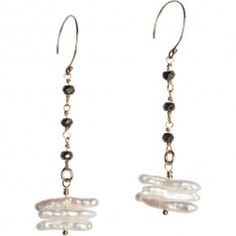 Tracy Arrington E113 G Earrings available at www.poppyarts.com!  $72 The new look of classic in 14K gold fill, pyrite and fresh water pearls.  #classic #pearls #tracyarrington #poppymadebyhand