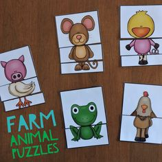 Farm Animal Puzzles: Make regular animals or combine the pieces to create new animals $