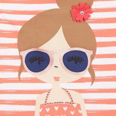 Girl's red beach girl printed swimsuit - Kids - Debenhams.com