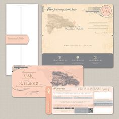 The Victoria Vintage Boarding Pass Invitation by AprilTwentyFive