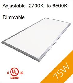 LED Panel Light, 2'x4', 75W, UL&DLC, Dimmable, Adjustable 2700K-6500K
