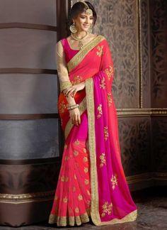 Hot Pink Embroidery Work Georgette Designer Party Wear Fancy Sarees http://www.angelnx.com/Sarees/Designer-Sarees