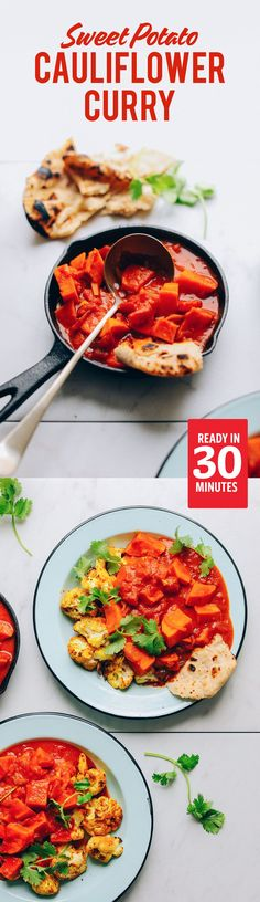 AMAZING 30-minute Sweet Potato Cauliflower Curry! 30 minutes, hearty, SO flavorful! #vegan #glutenfree #sweetpotato #curry #recipe #cauliflower #minimalistbaker
