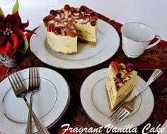 Raw Eggnog Cheesecake with Chocolate Swirl and Gingerbread Crust   Fragrant Vanilla Cake