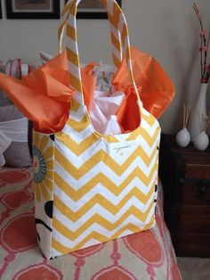 You will love this yellow chevron and Waverly Pom by OriginalsShop, $60.00