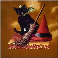 3dRose Cst_6190_3 Vintage Halloween Black Cat Ceramic Tile Coasters, Set Of 4 #3dRose