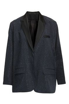 Embellished navy blue blazer with black lapels | #HMStudioAW14