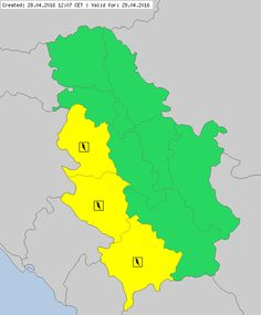 Meteoalarm - severe weather warnings for Europe - Serbia:valid from 29.04.2016 00:00 CET Until 29.04.2016 23:59 CET Rain  Awareness Level: Yellow  en: Heavy Rain/showers - at least 10 mm (l/m²) within a 3-hour period IMPACT: Difficulties in urban areas (especially problem in capacity of rain sewerage system, sewer collectors), problems in transport, disabling the planned agricultural works. Possible violations of the people and damage of properties.