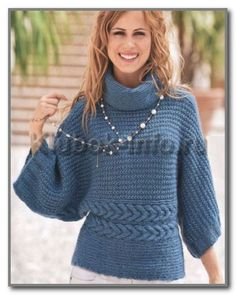 Knitting.  Pullover kimono collar golf.  Dimensions: 38