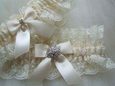 Wedding Garter Set,Bridal garter set,Heirloom garter,Wedding garter set, Satin and Ivory Chantilly Beaded Lace With Rhinestone Jewel on Etsy, $42.00