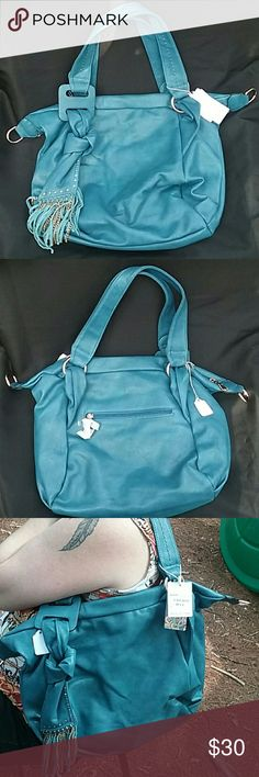 Purse Faux leather..knotted fabric with chain and faux leather tassle Bags Shoulder Bags