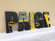 Batman inspired hand painted wooden letters by ItsRoosTutus on Etsy… Lego Batman Party, Batman Birthday, Boy Birthday, Painting Wooden Letters, Painted Letters, Hand Painted, Batman Bedroom, Batman Nursery, Baby Batman
