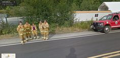 Fire Crew Pose for Google Street View – looks like these guys got ahead of the street view car for this group photo.
