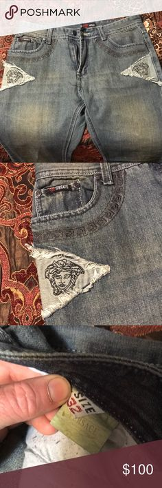 BNwT Versace jeans 32s These Versace jeans are new with tags they have an awesome feel and look to them any questions please ask  Ps.. I don't know how to verify they are authentic I'm pretty sure they are so if they are you are getting a awesome pair for cheap but if they aren't your getting a freaking awesome pair of jeans anyway Versace Jeans Slim