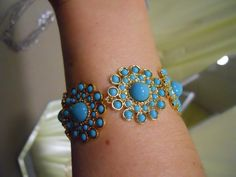 "5819-Dahlia 7 1/4"" Bracelet  gold plated enamel"