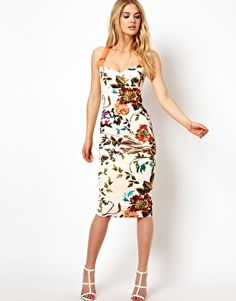 Image 4 ofTed Baker Floral Midi Dress with Contrast Straps