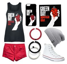 """Green Day- American Idiot"" by ash1317 on Polyvore featuring Converse, Lokai and The North Face"