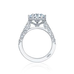 Tacori Petite Crescent HT254725RD8 Diamond Halo Engagement Ring Setting Unique silhouettes decorate this Tacori Petite Crescent diamond halo engagement ring setting. Six hidden prongs put your cent…