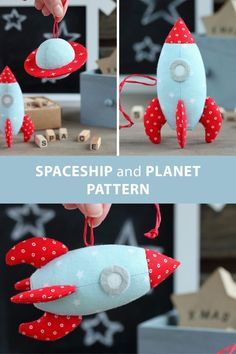 Sewing pattern for two space toys: Spaceship and Planet. They can be used as toys, as hanging decorations in kids' room or as Christmas ornaments.  #etsy #pattern #sewingpattern #pdfpattern #sew #sewing #sewingproject #diy #space #spaceship #planet #christmasornament #toy