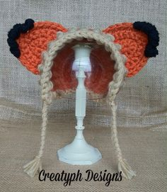 Fox Bonnet #CreatyphDesigns #Etsy #Facebook  https://www.etsy.com/listing/226354149/crochet-fox-bonnet-with-diaper-cover
