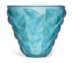 MOISSAC VASE, NO. 992 designed 1927, turquoise, wheel-engraved R. LALIQUE FRANCE, 5 ⅛ in. (13 cm.) high