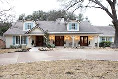 Before and After - red brick ranch to this! 80's to French Country - most incredible home done on season 1 - Joanna is amazing!!