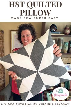 HST Quilted Pillow Tutorial Video - Gingercake : HST Quilted Pillow video tutorial by Virginia Lindsay of Gingercake Patterns Patchwork Cushion, Patchwork Quilting, Quilts, Patchwork Ideas, Patchwork Patterns, Sewing Pillows, Diy Pillows, Cushions, Pillow Ideas