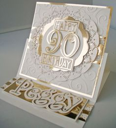 90th Birthday Card - white and gold - bjl