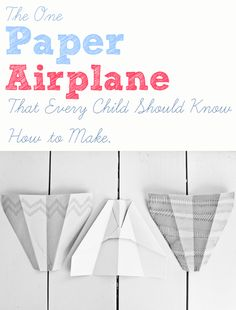 How to fold the best paper airplane. One paper airplane every child should know how to make. Learn this and you'll never need another style Craft Activities For Kids, Projects For Kids, Diy For Kids, Preschool Crafts, Craft Ideas, Steam Activities, Toddler Activities, Crafts To Do, Crafts For Kids