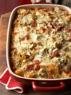 caramelized onion, spinach and gruyere strata with sauteed cherry
