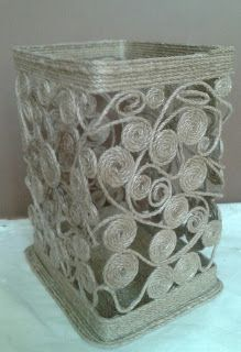 How to make vase made with rope - Simple Craft Ideas Twine Crafts, Yarn Crafts, Diy Crafts, Crafts To Make, Arts And Crafts, Coaster Crafts, Rope Art, Paper Weaving, Newspaper Crafts