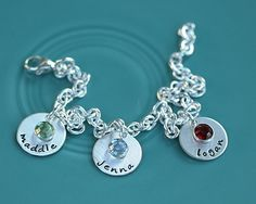 dainty drop bracelet - I might want charms like this with a chunky bracelet